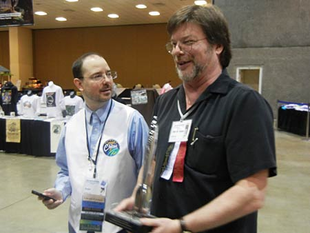 Allen Steele with his Hugo and John Scalzi